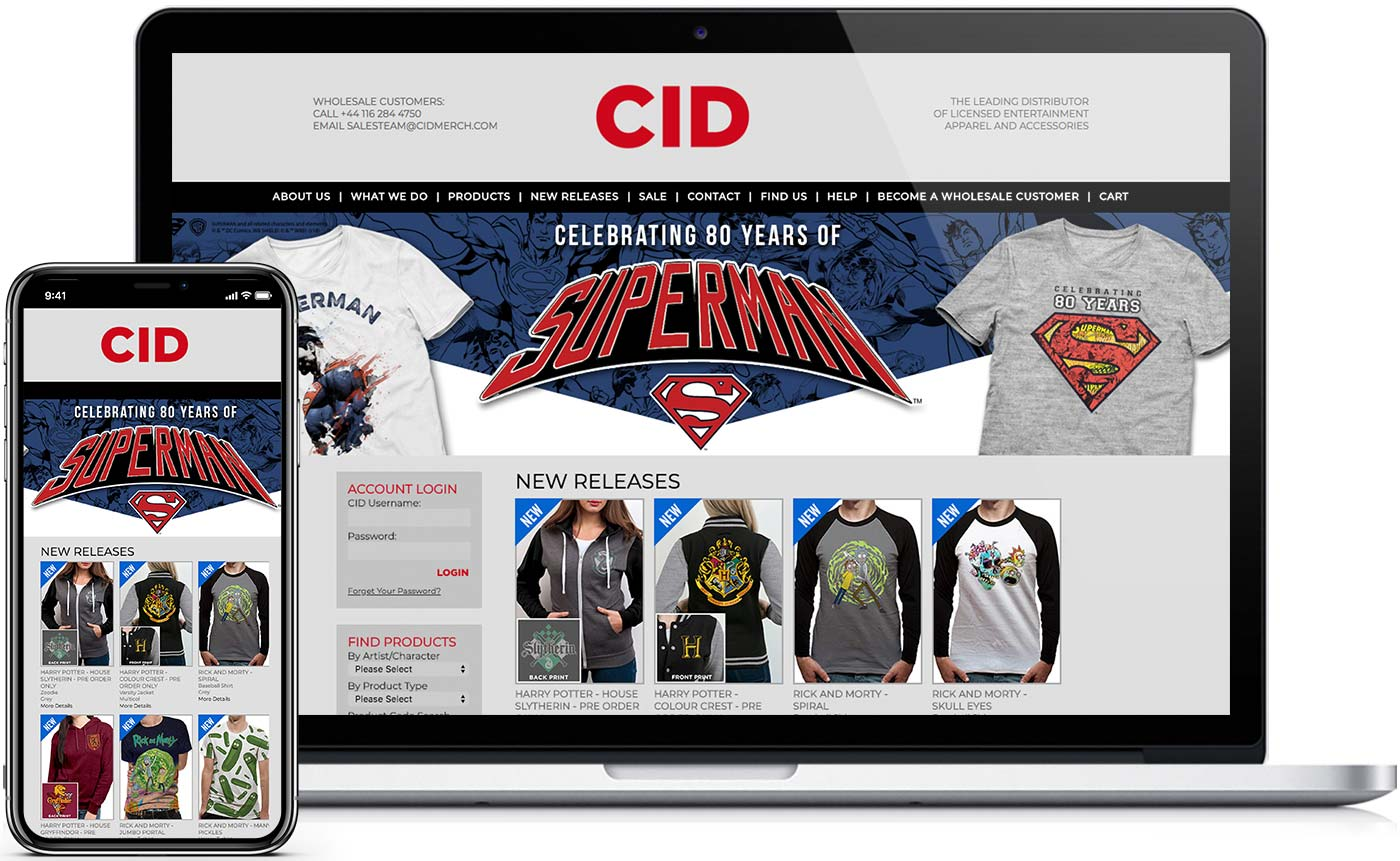 CID website design on a smartphone and Mac. Website design by 77 Rockets in Leicester.