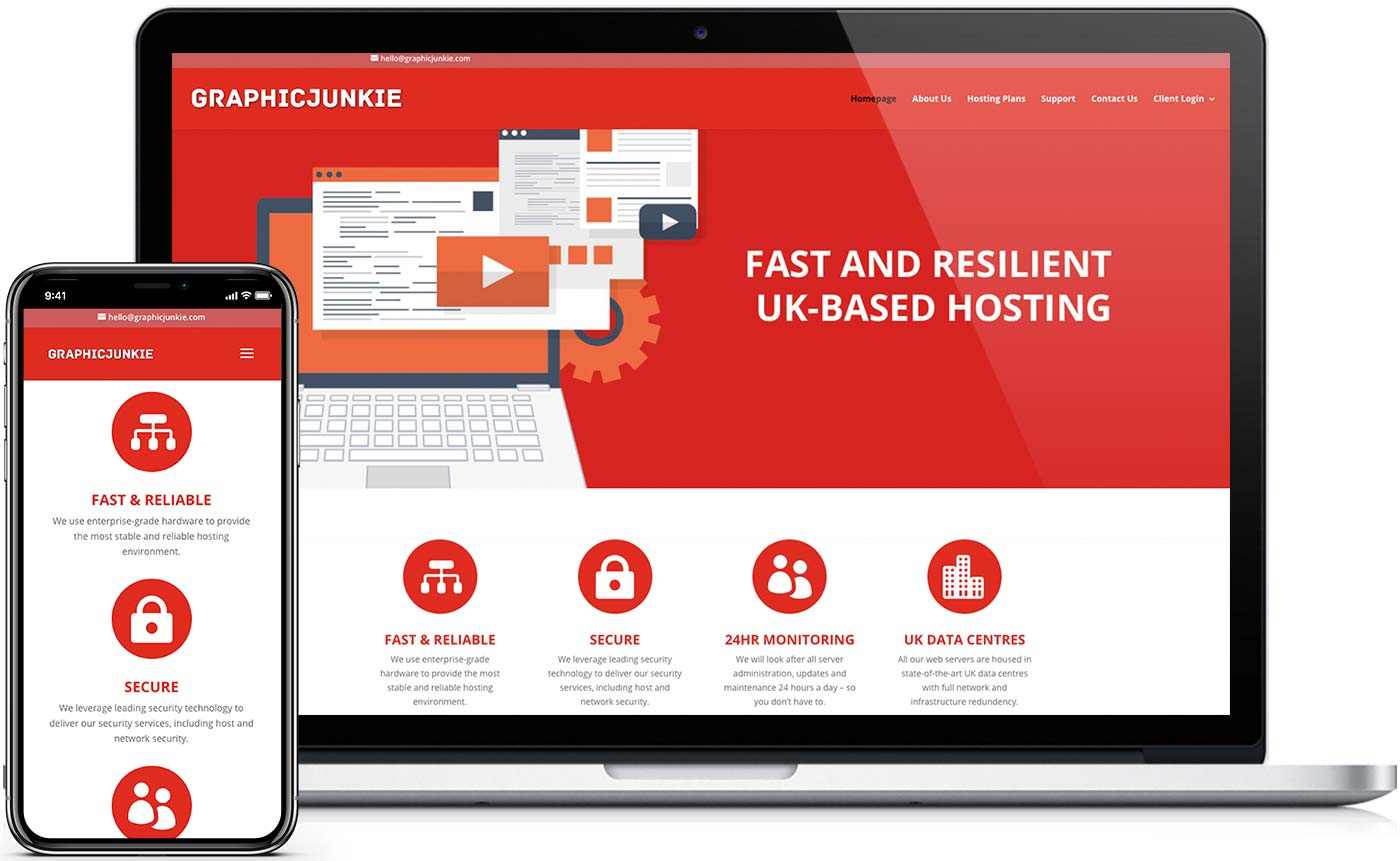 New desktop and mobile website design for the hosting website