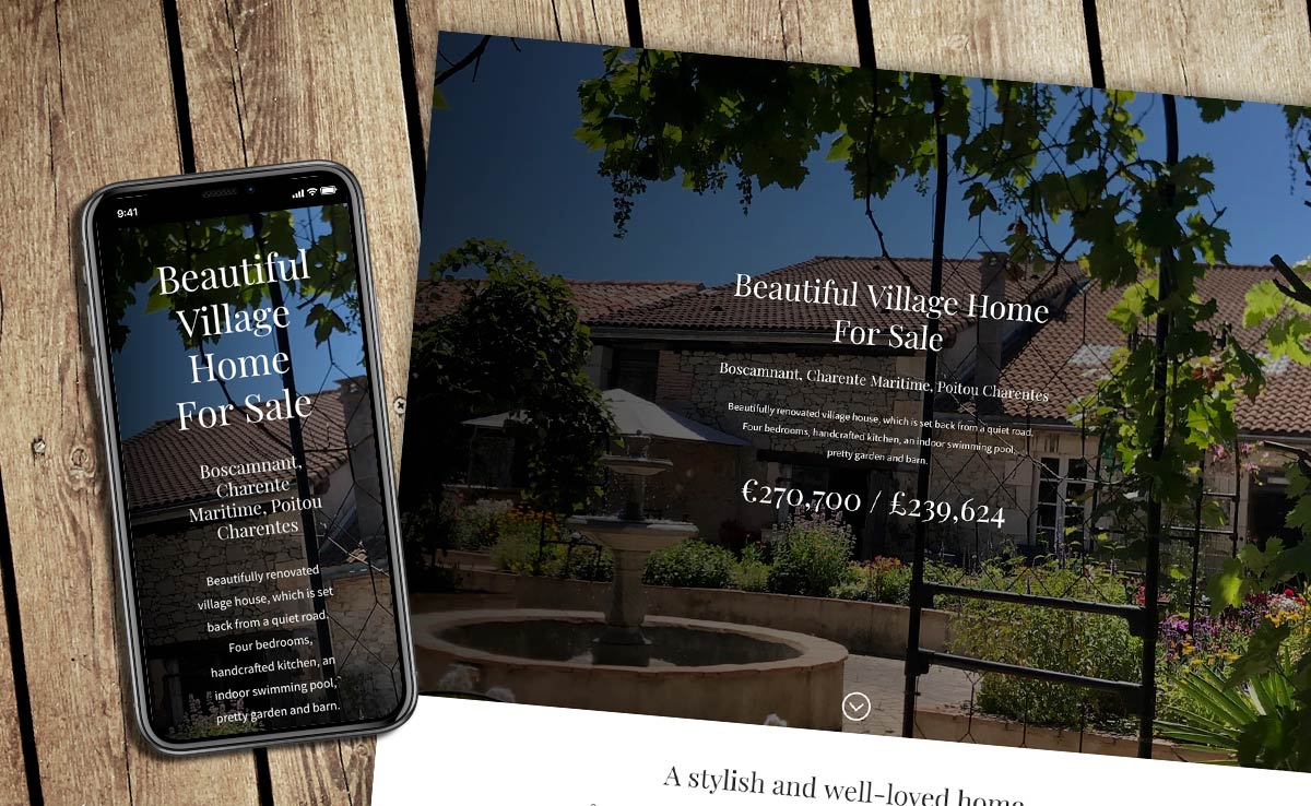 French house mobile and desktop website design