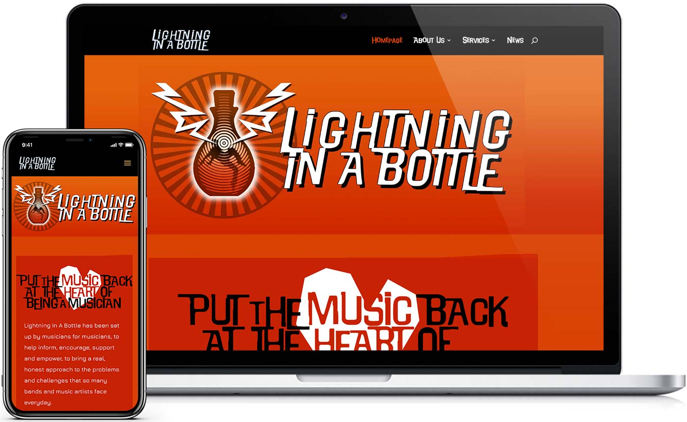 Mac showing website design for Lightning in a Bottle Music Consultants