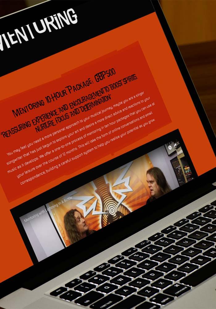 Website design for Lightning in a Bottle Music Consultants