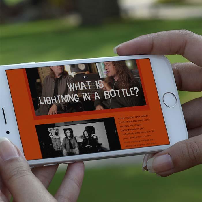 Mobile website design for Lightning in a Bottle Music Consultants
