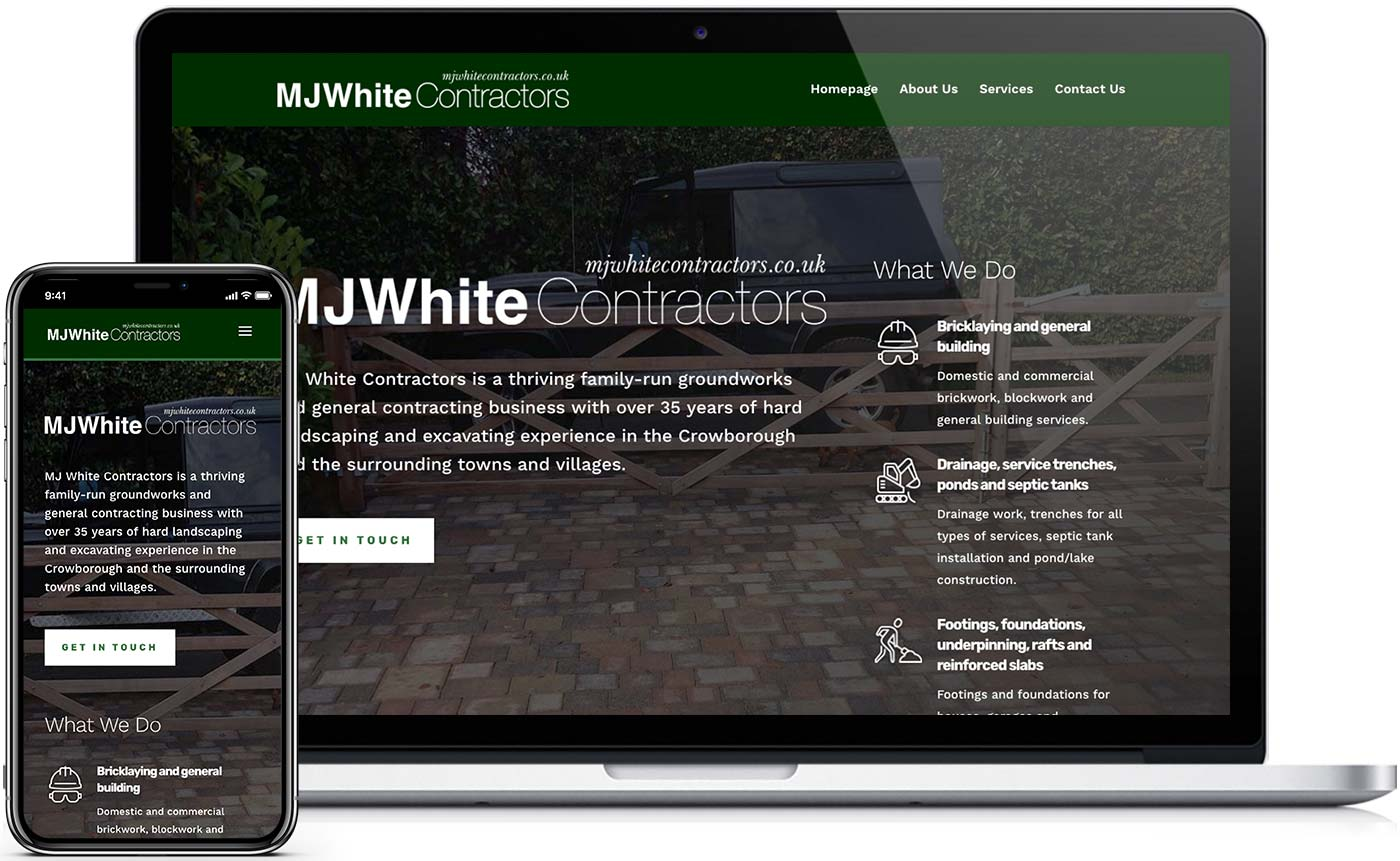 New desktop and mobile website design for MJ White Contractors