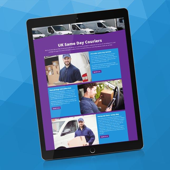 Tablet showing 77 Rocket's design of the new website design.